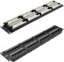 """Коммутационная панель NETLAN 19"""", 2U, 48 портов, Кат.5e (Класс D), 100МГц, RJ45/8P8C, 110/KRONE, T568A/B, неэкранированная, черная"""