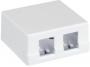 Корпус настенной розетки NETLAN, под 2 модуля-вставки типа Keystone, белый, уп-ка 10 шт.