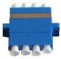 Оптический проходной адаптер LC/PC-LC/PC, MM, quadro, 4 волокна, корпус пластиковый, бежевый, белые колпачки Hyperline