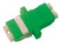 Оптический проходной адаптер LC/APC-LC/APC, SM, duplex, корпус пластиковый, зеленый, белые колпачки Hyperline
