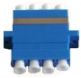 Оптический проходной адаптер LC/UPC-LC/UPC, SM, quadro, 4 волокна, корпус пластиковый, синий, белые колпачки Hyperline
