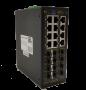Коммутатор GIGALINK, L2+, индустриальный на DIN рейку, 12x10/100/1000Mbps (1-8 PoE af/at), 12x1000mbs SFP, 1 Консольный RJ-45, питание 48В 480W поставляется отдельно