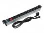 """Блок розеток 19"""", 1U, 8 розеток 250В, с выключателем, отсоединяемый шнур 1,8м, MAXYS"""