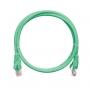Коммутационный шнур NIKOMAX U/UTP 4 пары, Кат.5е (Класс D), 100МГц, 2хRJ45/8P8C, T568B, заливной, с защитой защелки, многожильный, BC (чистая медь), 24AWG (7х0,205мм), LSZH нг(А)-HFLTx, зеленый, 0,3м
