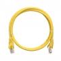 Коммутационный шнур NIKOMAX U/UTP 4 пары, Кат.5е (Класс D), 100МГц, 2хRJ45/8P8C, T568B, заливной, с защитой защелки, многожильный, BC (чистая медь), 24AWG (7х0,205мм), LSZH нг(А)-HFLTx, желтый, 0,3м