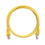 Коммутационный шнур NIKOMAX U/UTP 4 пары, Кат.5е (Класс D), 100МГц, 2хRJ45/8P8C, T568B, заливной, с защитой защелки, многожильный, BC (чистая медь), 24AWG (7х0,205мм), PVC нг(А), желтый, 0,3м
