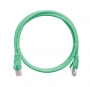 Коммутационный шнур NIKOMAX U/UTP 4 пары, Кат.5е (Класс D), 100МГц, 2хRJ45/8P8C, T568B, заливной, с защитой защелки, многожильный, BC (чистая медь), 24AWG (7х0,205мм), LSZH нг(А)-HFLTx, зеленый, 1м