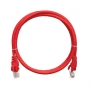 Коммутационный шнур NIKOMAX U/UTP 4 пары, Кат.5е (Класс D), 100МГц, 2хRJ45/8P8C, T568B, заливной, с защитой защелки, многожильный, BC (чистая медь), 24AWG (7х0,205мм), LSZH нг(А)-HFLTx, красный, 1м