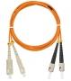 Шнур NIKOMAX волоконно-оптический, переходной, многомодовый 50/125мкм, стандарта ОМ2, SC/UPC-ST/UPC, двойной, LSZH нг(В)-HFLTx, 2мм, оранжевый, 1м