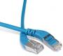 Патч-корд F/UTP угловой, экранированный, правый 45°-правый 45°, Cat.6a, LSZH, 1 м, синий Hyperline