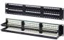 """Патч-панель 19"""", 2U, 48 портов RJ-45, категория 6, Dual IDC, ROHS (задний кабельный организатор в комплекте) Hyperline"""