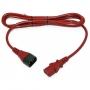 Кабель питания монитор-компьютер IEC 320 C13 - IEC 320 C14 (3x0.75), 10A, прямая вилка, 0.5 м, цвет красный Hyperline