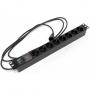 """Блок розеток для 19"""" шкафов, горизонтальный, с выключателем с подсветкой, 8 розеток Schuko (10A), 250В, кабель питания 3х1.0мм2, длина 2.5 м, с вилкой IEC 320 C14, 482.6x44.4x44.4мм (ДхШхВ) Hyperline"""