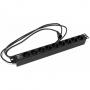 """Блок розеток для 19"""" шкафов, горизонтальный, 9 розеток Schuko (10A), 230 В, кабель питания 3х1.0мм2, длина 2.5 м, с вилкой IEC 320 C14, 482.6x44.4x44.4мм (ДхШхВ) Hyperline"""