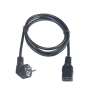 Кабель питания TLK, вход - евровилка с заземлением (Schuko, CEE 7/7) , выход - разъём C19 (IEC 60320),  3x1.5мм2, 1.8 м, 250В 16A, черный
