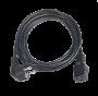 Кабель питания TLK, вход - евровилка с заземлением (Schuko, CEE 7/7) , выход - разъём C19 (IEC 60320),  3x1.5мм2, 3 м, 250В 16A, черный