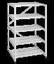 Стеллаж разборный, Высота 1243 мм, Ширина 750 мм, Глубина 675 мм, пять полок, на основе цельносварных рам, цвет серый RAL 7035 TLK