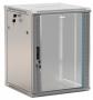 """Шкаф настенный 19-дюймовый (19""""), 12U, 650x600х450мм, стеклянная дверь с перфорацией по бокам, ручка с замком, цвет серый (RAL 7035) (разобранный) Hyperline"""