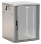 """Шкаф настенный 19-дюймовый (19""""), 15U, 775x600х450мм, стеклянная дверь с перфорацией по бокам, ручка с замком, цвет серый (RAL 7035) (разобранный) Hyperline"""