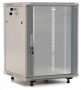 """Шкаф настенный 19-дюймовый (19""""), 15U, 787x600х450мм, стеклянная дверь с перфорацией по бокам, ручка с замком, с возможностью установки на ножки (в комплекте), цвет серый (RAL 7035) (разобранный) Hyperline"""