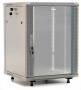 """Шкаф настенный 19-дюймовый (19""""), 18U, 920x600х600мм, стеклянная дверь с перфорацией по бокам, ручка с замком, с возможностью установки на ножки (в комплекте), цвет серый (RAL 7035) (разобранный) Hyperline"""