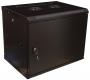 """Шкаф настенный 19-дюймовый (19""""), 4U, 278x600х450мм, металлическая передняя дверь с замком, две боковые панели, цвет черный (RAL 9004) (разобранный) Hyperline"""