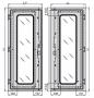 Правая створка стеклянной двери с металлическими вставками к шкафу SZE2 2000x1200, цвет серый (RAL 7035) ZPAS