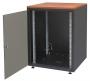 """Шкаф напольный серии SJB, 19-дюймовый (19""""), 12U, 604x600х600мм (ВхШхГ), стекл. дверь, цвет черный (RAL 9005) , без столешницы, нагрузка 30 кг (собранный) ZPAS"""