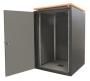 """Шкаф напольный серии SJB SILENT 19"""", 18U, 871x600х600мм (ВхШхГ), стеклянная дверь, столешница Calvados, нагрузка 45кг, с шумоизоляцией и вентиляционной панелью, цвет черный (RAL 9005) ZPAS"""