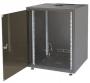 """Шкаф напольный серии SJB, 19-дюймовый (19""""), 15U, 737x600х800мм (ВхШхГ), стекл. дверь, без столешницы, цвет черный (RAL 9005), нагрузка 38 кг (собранный) ZPAS"""