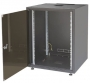 """Шкаф напольный серии SJB, 19-дюймовый (19""""), 18U, 871x600x800мм (ВхШхГ), стекл. дверь, без столешницы, цвет черный (RAL 9005), нагрузка 45 кг (собранный) ZPAS"""