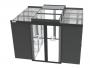 Комплект раздвижных дверей холодного коридора, с доводчиком, для шкафов Z-SERVER глубиной 1200 мм, 42U на ножках, черный (RAL9005) ZPAS