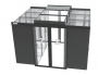 Комплект раздвижных дверей холодного коридора для шкафов Z-SERVER глубиной 1200 мм, 45U, черный (RAL9005) ZPAS