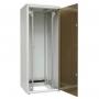 """Шкаф напольный 19"""", 24U, 1163х600х800мм (ВхШхГ), дверь стеклянная с одноточ. замком, сзади укороченная дверь + фальшпанель 3U с щеточным вводом, без крыши, 2 пары 19"""" монтажных профилей, ножки, серый(RAL7035)(разобранный) ZPAS"""