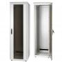 """Шкаф напольный 19"""", SZBD, 28U, 1341x600х600мм (ВхШхГ), стеклянная дверь c металлическими вставками, ручка с замком с трехточечной фиксацией, цвет серый (RAL 7035) (разобранный) ZPAS"""