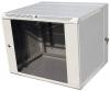Шкаф телекоммуникационный настенный откидной 9U (600x520) дверь стекло серый ЦМО