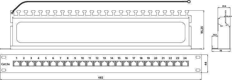 Экранированная патч-панель категории 5e, PP-19-24-8P8C-C